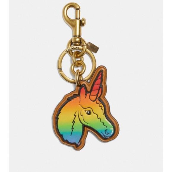 Coach Leather Rainbow Pride Unicorn Keychain